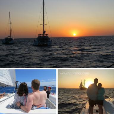 Sunset on the catamaran